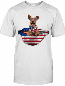 Welsh Terrier Waist Pack American Flag Independence Day T-Shirt