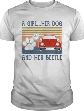 A girl her dog paw and her beetle vintage retro shirt