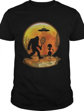 Bigfoot and alien badminton sunset shirt