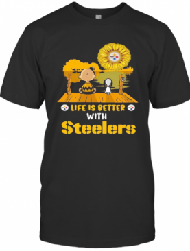 Life Is Better With Steelers Snoopy And Chailer Brown T-Shirt