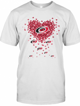 Love Carolina Hurricanes Hockey Logo Hearts T-Shirt