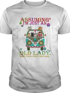 Peace bus cats assuming im just an old lady was your first mistake shirt