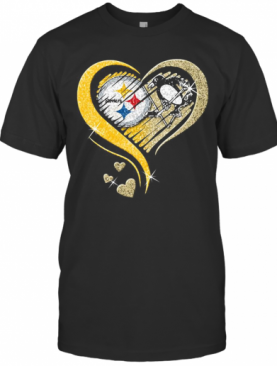 Pittsburgh Steelers And Pittsburgh Penguins Hearts Diamond T-Shirt