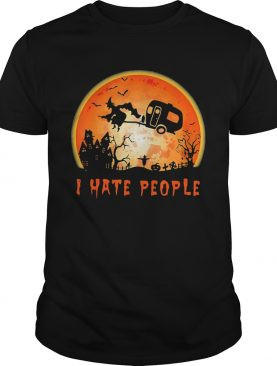 Halloween witch i hate people moon shirt