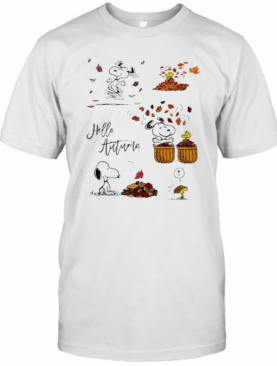Snoopy Hello Autumn Maple Leaves T-Shirt