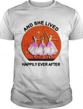 Ballet girls mask and she lived happily ever after halloween shirt