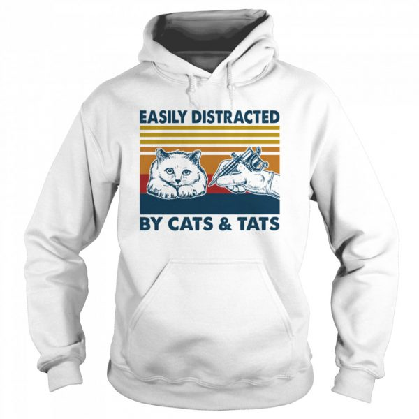 Easily Distracted By Cats And Tats Tattooist Vintage  Unisex Hoodie