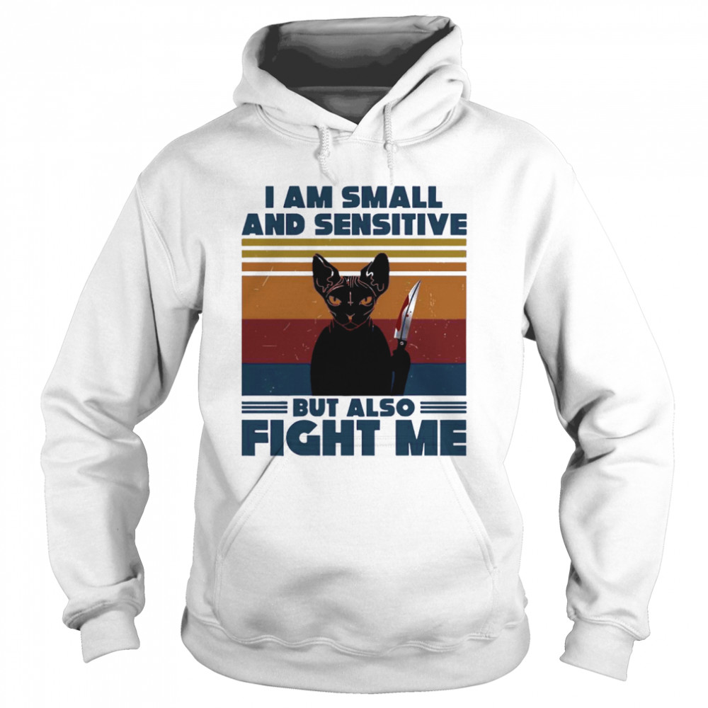 Michael Myers Black Cat I Am Small And Sensitive But Also Fight Me Halloween  Unisex Hoodie