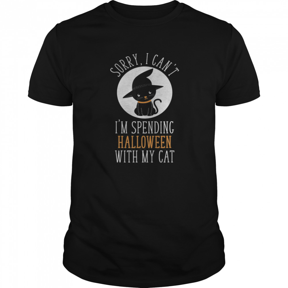 Sorry I Can't I'm Spending Halloween With My Cat Funny Cute  Classic Men's T-shirt