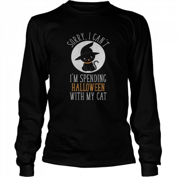 Sorry I Can't I'm Spending Halloween With My Cat Funny Cute  Long Sleeved T-shirt