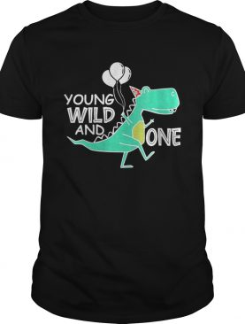 Young wild and one trex birthday dinosaur 1st birthday shirt