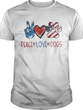 Peace Love Dogs Paw American Flag shirt