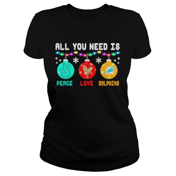 All You need is Peace love Miami Dolphins Merry Christmas light  Classic Ladies