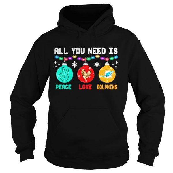All You need is Peace love Miami Dolphins Merry Christmas light  Hoodie