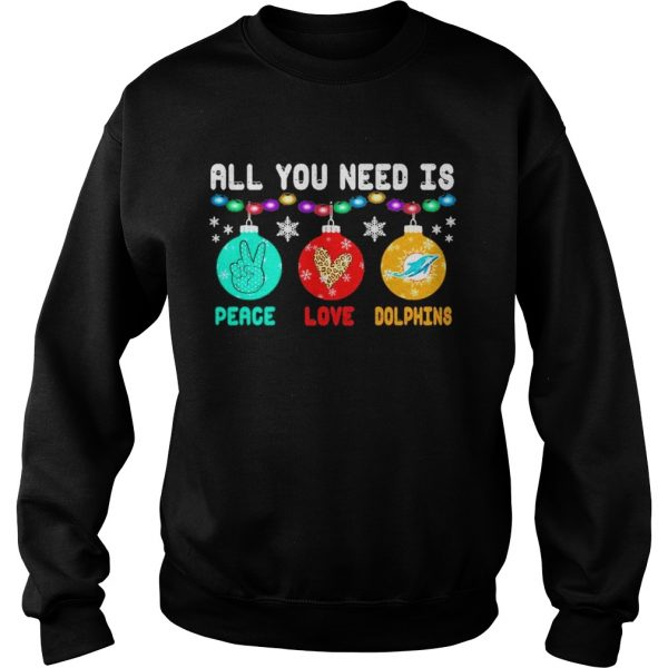 All You need is Peace love Miami Dolphins Merry Christmas light  Sweatshirt