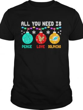 All You need is Peace love Miami Dolphins Merry Christmas light shirt