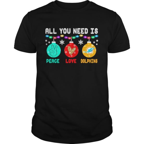All You need is Peace love Miami Dolphins Merry Christmas light  Unisex