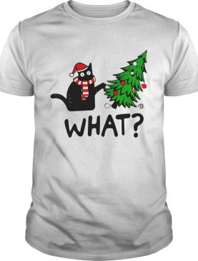 Black Cat What Merry Christmas Tree shirt