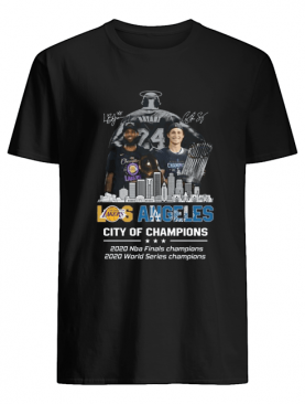 Kobe Bryant LeBron James Los Angeles Vs Corey Seager LA Dodgers City Of Champions 2020 Signature shirt