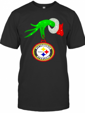 The Grinch Hand Holding Ornament Pittsburgh Steelers Diamond Christmas T-Shirt