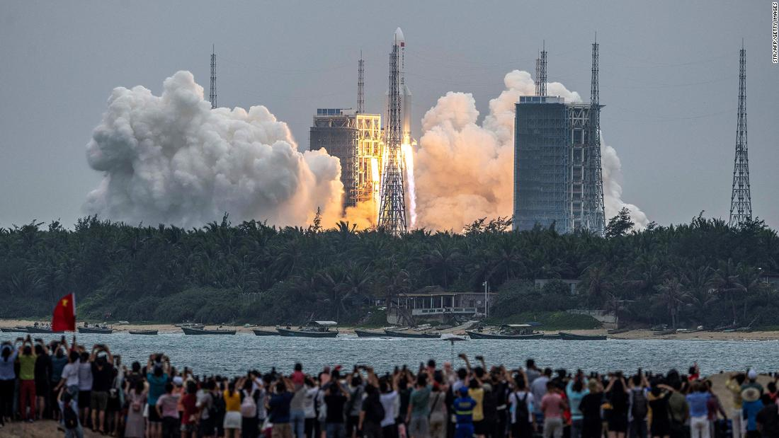 China blames the US for hyping fears of uncontrolled rocket reentry as space race heats up